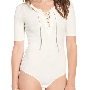 Madewell ribbed lace up bodysuit size S